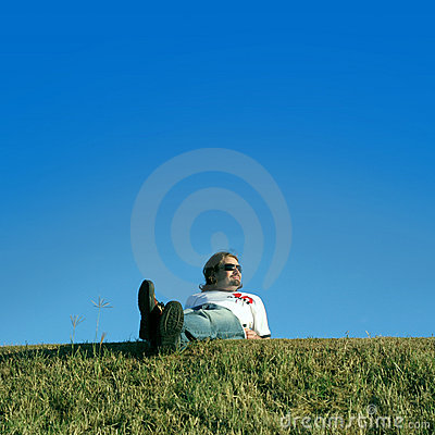 Young man on the grass