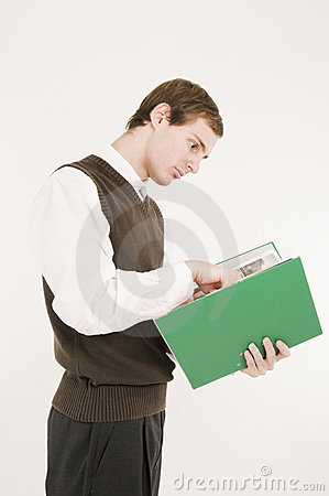 Young man with green folder