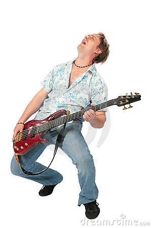 Young man with guitar dancing