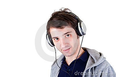 Young man headphones