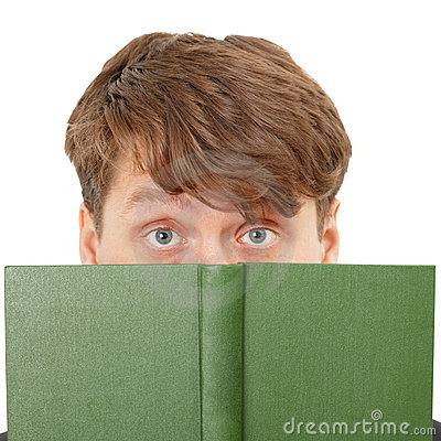 Young man hid his face behind a green book