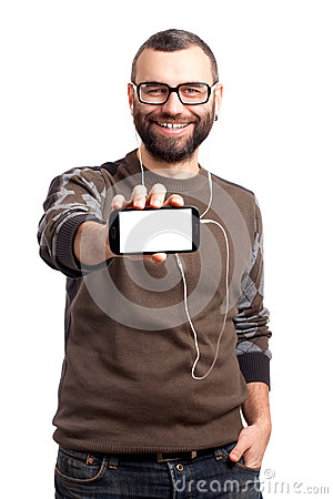 Free Young Man Holding A Mobile Phone Stock Images - 29002234
