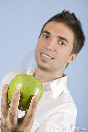 Free Young Man Holding An Apple Stock Images - 11020894