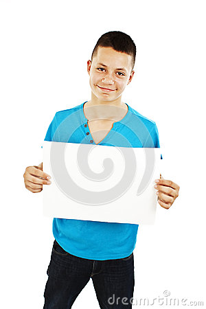 Young man holding blank sign