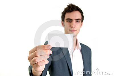 Young man holding card