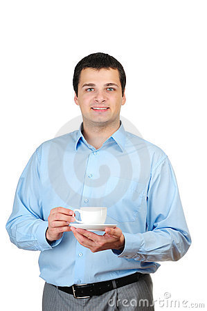 Young man holding coffee(or tea)