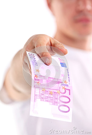Young man holding five hundred euro banknotebankn