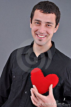 Free Young Man Holding Heart Stock Photography - 18046552