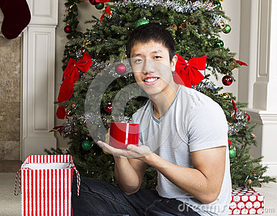 Young Man with Holiday Gift