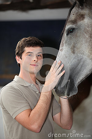 Young man with horse