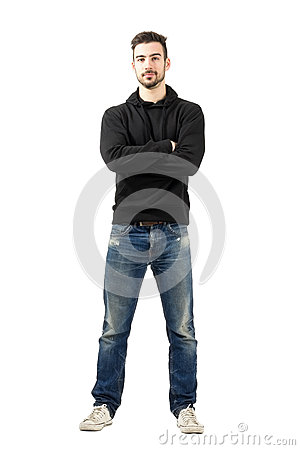 Free Young Man In Hoodie With Crossed Arms Looking At Camera Royalty Free Stock Photos - 47697538