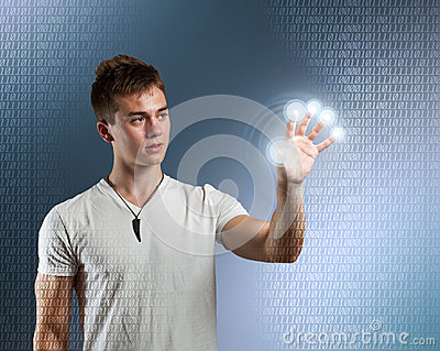 Young man with interface