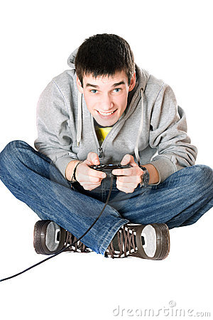 Young man with a joystick for game console Stock Photo