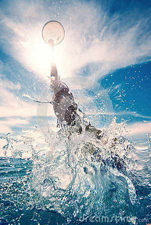 Free Young Man Jumping In The Water Stock Images - 46994274