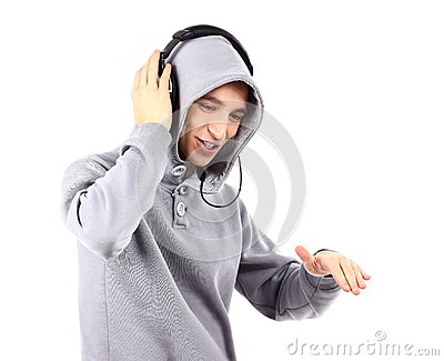 Young man listen music with headphones