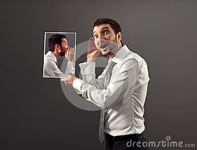 Man listening his inner voice