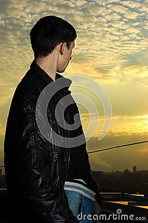 Young man looking ahead