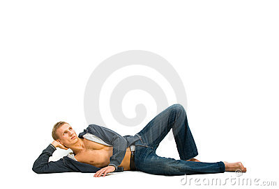 Young man lying and dreaming
