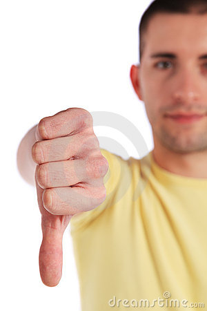 Young man making negative gesture