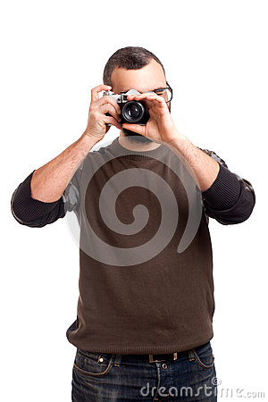 Young man making photo