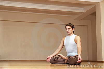 Young man meditation alone