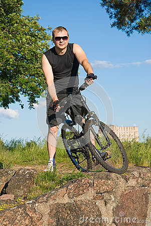 Young man on a mountain bike
