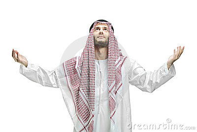 Young man of muslim religion praying