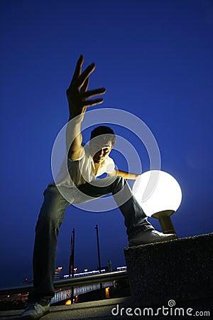 Young man at night