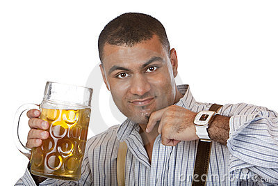 Young man with Oktoberfest beer stein (mass)