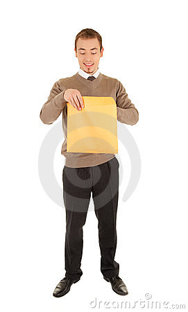 Young man opens a post package