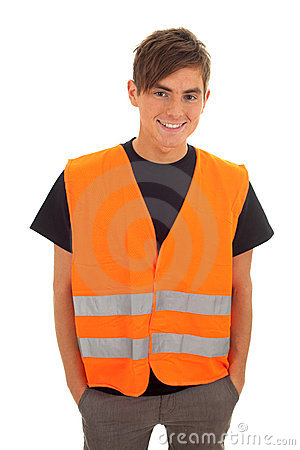 Young man in orange protective waistcoat