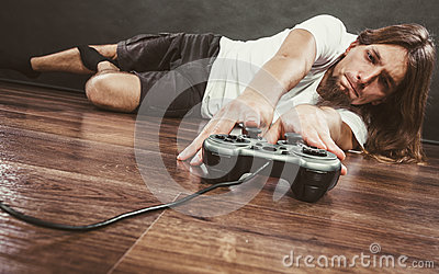 Young man with pad Stock Photo