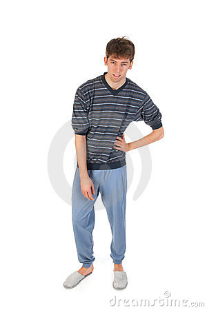 Young man in pajamas