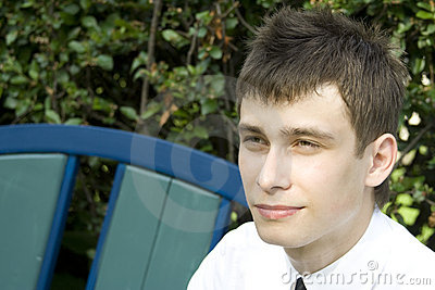 Young man on park bench