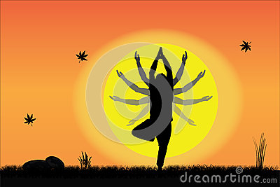 Yoga at Sunset - Young Man performing at sunrise
