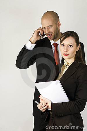 Young man on phone with assistent
