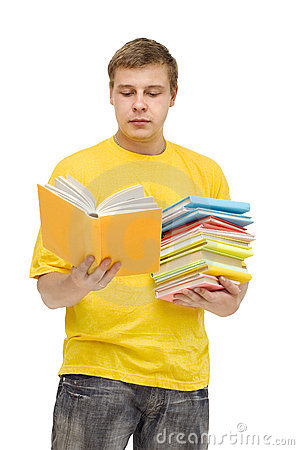 The young man with a pile of books