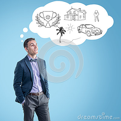 Free Young Man Planning His Future And Dreaming Royalty Free Stock Photos - 41449078