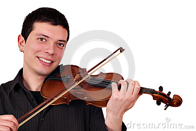 Young man play violin