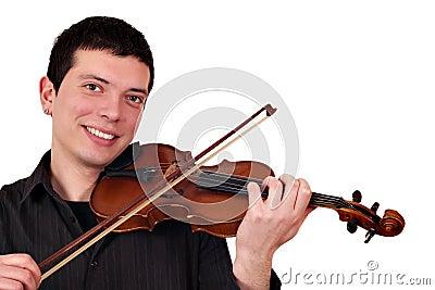 Young man play violin