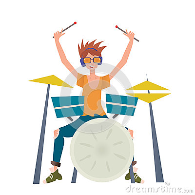 Young man playing drum set. Drummer, musician. Vector illustration, on white background. Vector Illustration