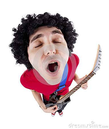 Free Young Man Playing Guitar Over White Background Royalty Free Stock Photography - 29267717