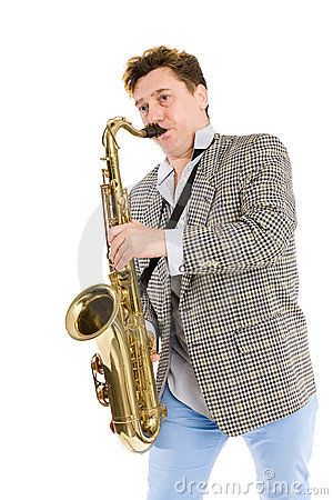 Young man playing the sax