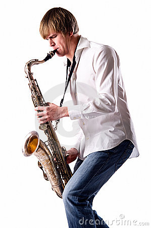 Free Young Man Playing The Saxophone Stock Photo - 18564580