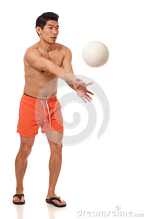 Young Man Playing Volleyball
