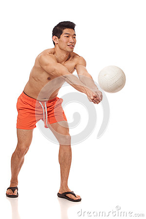 Young Man Playing Volleyball Royalty Free Stock Images - Image: 29050419