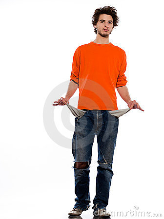 Young man poor showing empty pockets