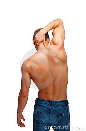 Young man posing his back muscles
