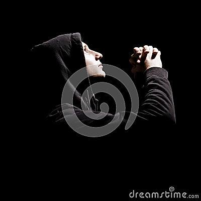 Young man is praying