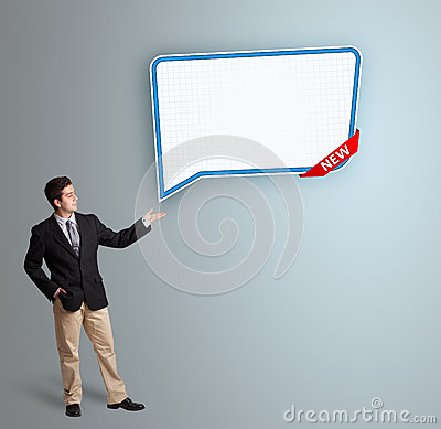 Young man presenting modern speech bubble copy space